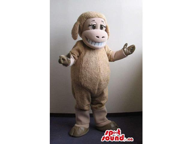Customised Beige Sheep Plush Canadian SpotSound Mascot With A Peculiar Smile