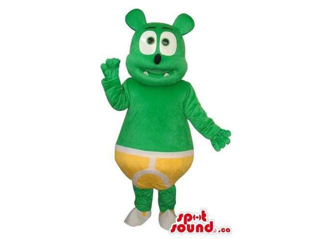Fairy-Tale Green Teddy Bear Plush Canadian SpotSound Mascot Dressed In Yellow Briefs