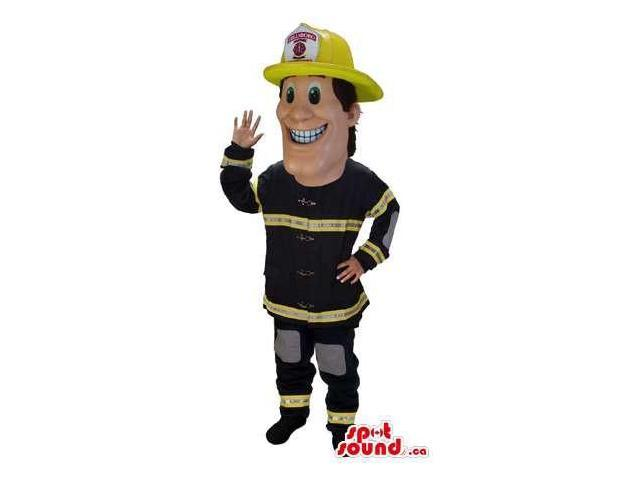 Happy Human Canadian SpotSound Mascot Dressed In Black And Yellow Fireman Clothes