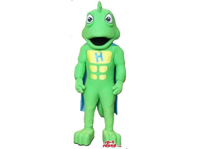 Cartoon Green Dragon Plush Canadian SpotSound Mascot With A Blue Cape And A Letter