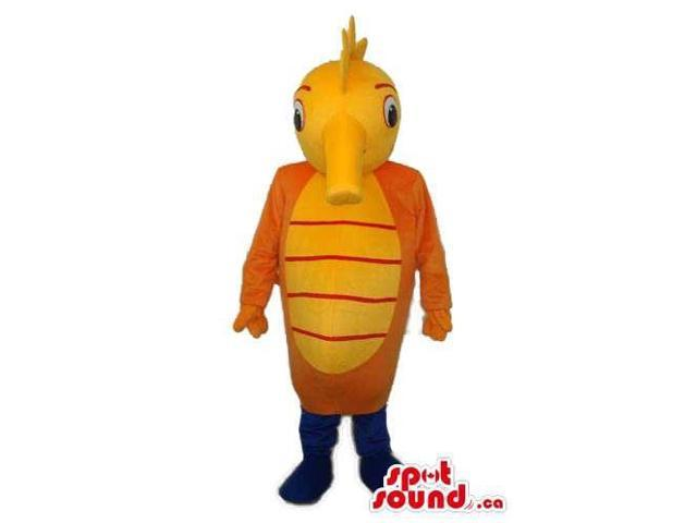 Customised Orange And Yellow Plush Seahorse Canadian SpotSound Mascot