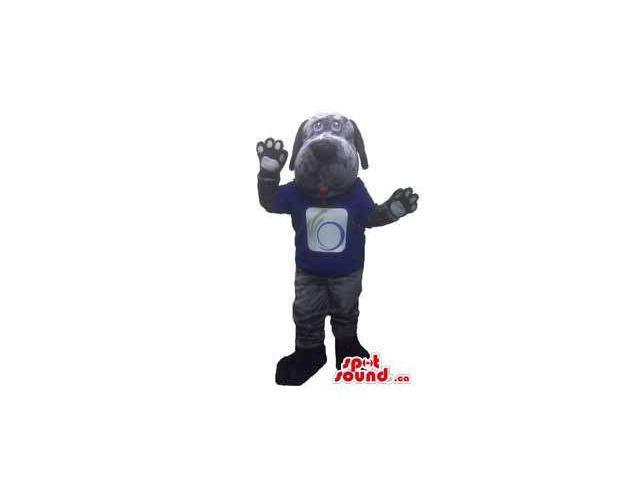 All Grey Peculiar Dog Pet Animal Canadian SpotSound Mascot Dressed In A T-Shirt With Logo