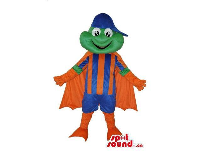 Green Frog Canadian SpotSound Mascot Dressed In Orange And Blue Clothes And Cape
