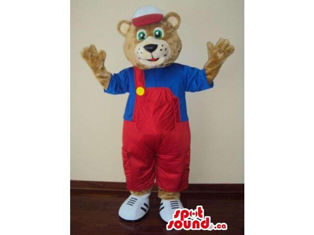 Brown Bear Forest Canadian SpotSound Mascot Dressed In Red Overalls And A Cap