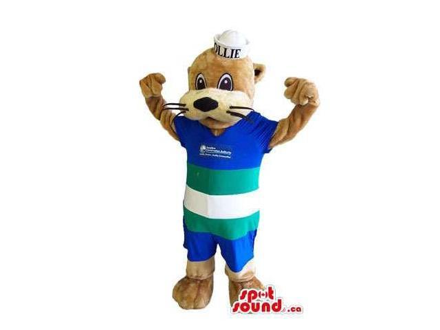 Customised Brown And Beige Otter Animal Canadian SpotSound Mascot Dressed In Gear