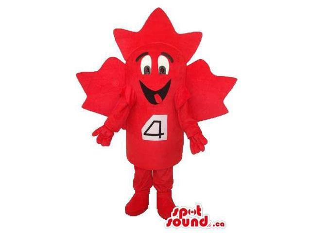 Cute Large Red Maple Leaf Plush Canadian SpotSound Mascot With Number 4 Tag