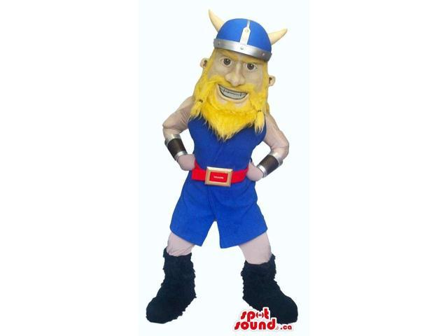 Viking Human Character Canadian SpotSound Mascot Dressed In Yellow And Blue Clothes
