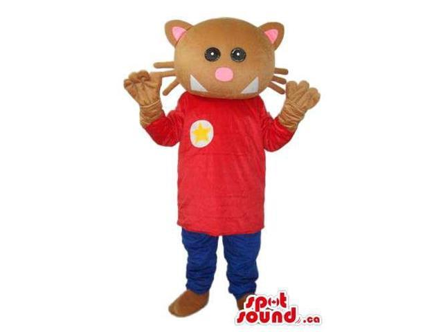 Fairy-Tale Brown Cat Plush Canadian SpotSound Mascot Dressed In Red And Blue Gear