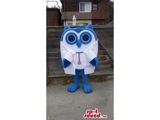 Customised Blue Owl Canadian SpotSound Mascot Dressed In Doctor Clothes