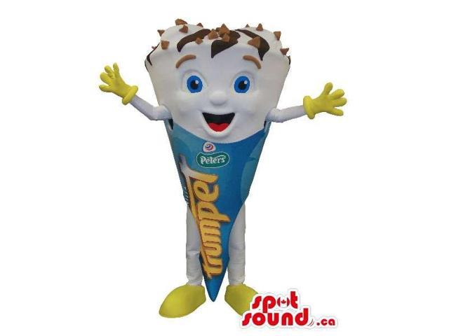 Cute Ice-Cream Cone Canadian SpotSound Mascot With Logos And Text And Blue Eyes