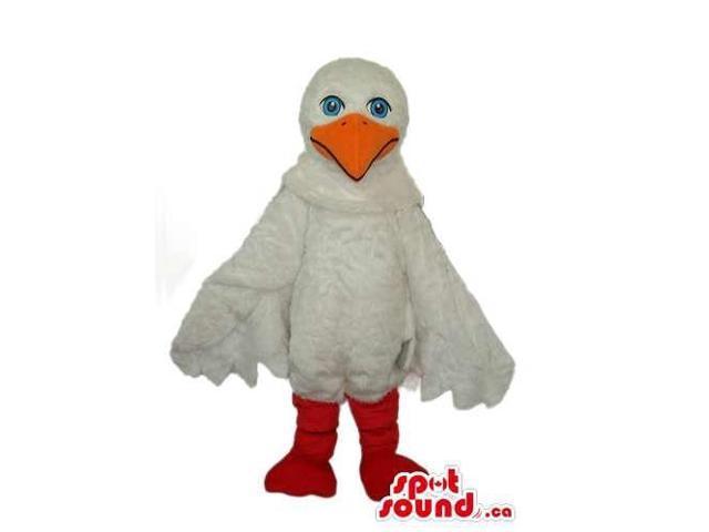 White Bird Plush Canadian SpotSound Mascot With Blue Eyes And Yellow Beak