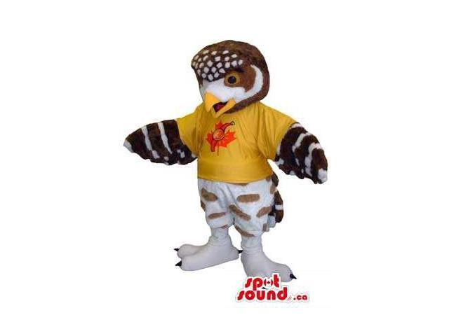 Customised Brown And White Owl Canadian SpotSound Mascot Dressed In A T-Shirt
