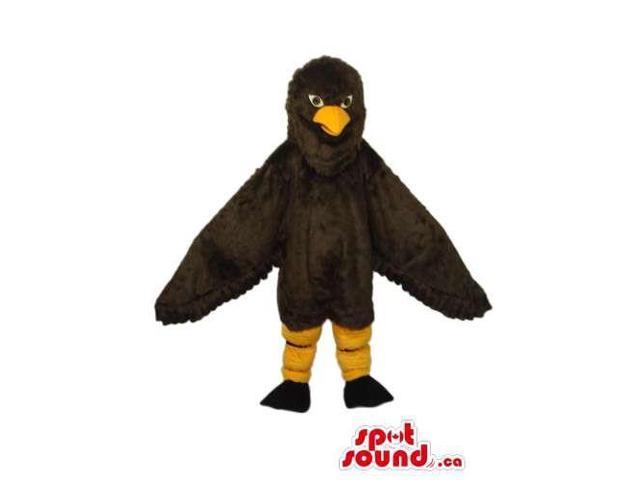 All Dark Brown Bird Plush Canadian SpotSound Mascot With A Yellow Beak