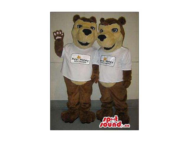 Beige And Brown Bear Forest Canadian SpotSound Mascots With White T-Shirt