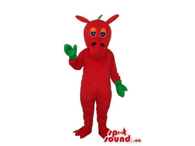 Cute Fairy-Tale Red Dragon Plush Canadian SpotSound Mascot With Green Gloves