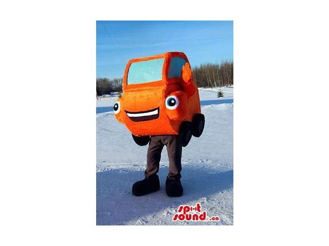 Original Orange Car Canadian SpotSound Mascot With Peculiar Eyes And Mouth