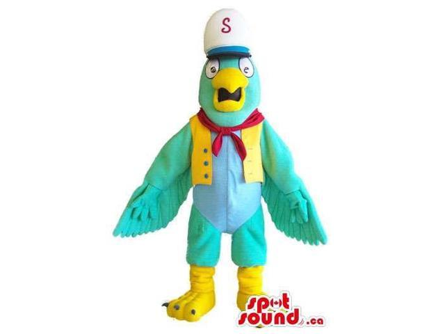 Customised Green Parrot Canadian SpotSound Mascot Dressed In Sailor Gear