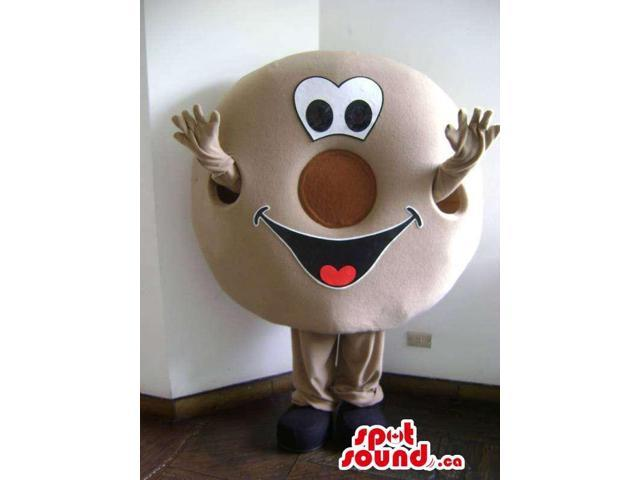 Brown Bagel Or Doughnut Food Canadian SpotSound Mascot With Peculiar Face