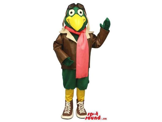 Cool Green Bird Plush Canadian SpotSound Mascot Dressed In Pilot Clothes