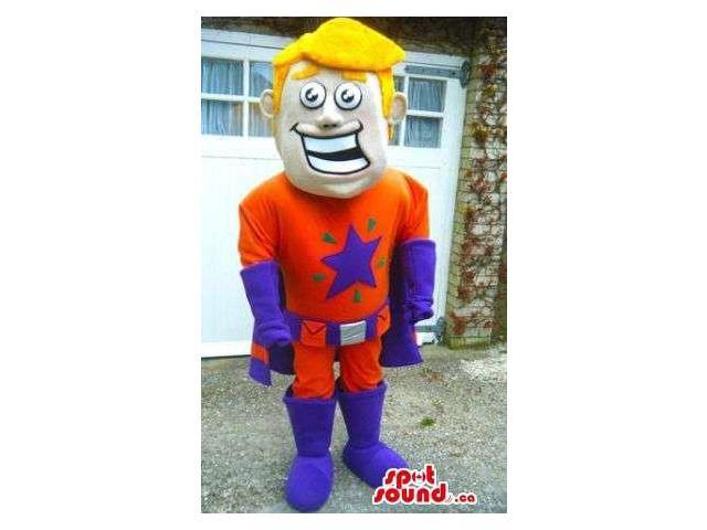 Smiling Blond Boy Dressed In Superhero Orange And Purple Clothes