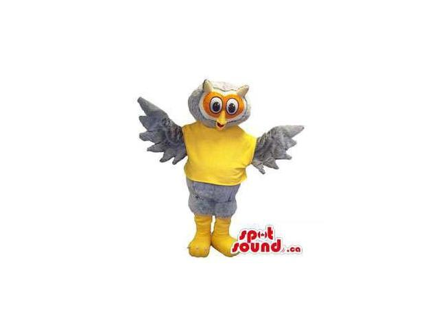 Grey Owl Bird Plush Canadian SpotSound Mascot Dressed In A Flashy Yellow T-Shirt