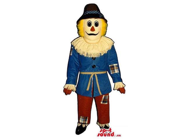Peculiar Countryside Scarecrow Canadian SpotSound Mascot With A Hat And A Collar