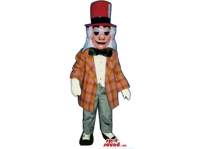 Old Man Canadian SpotSound Mascot Dressed In A Red Hat And A Checked Jacket