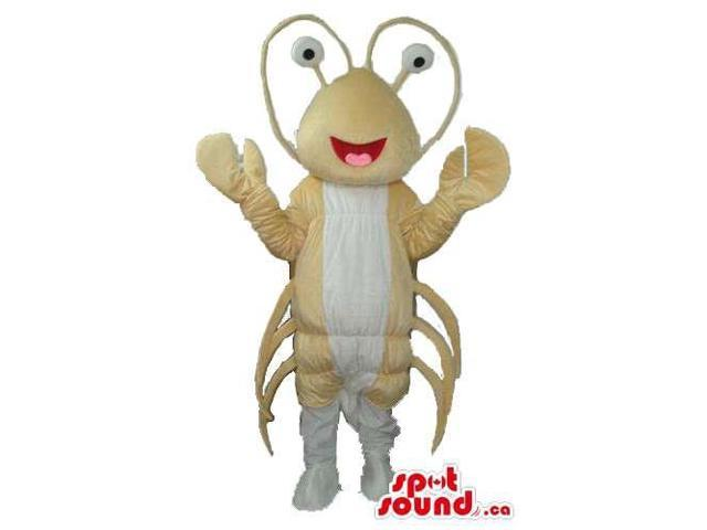 Beige And White Lobster Plush Canadian SpotSound Mascot With Peculiar Eyes