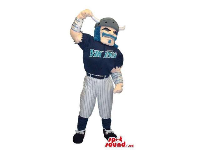 Viking Human Character Canadian SpotSound Mascot Dressed In Baseball Team Clothes