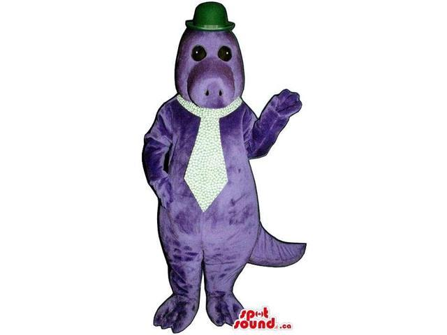 Customised Purple Hippopotamus Plush Canadian SpotSound Mascot With A Tie And Hat