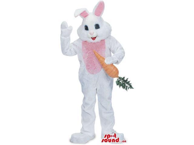 White And Pink Rabbit Animal Canadian SpotSound Mascot With Large Carrot