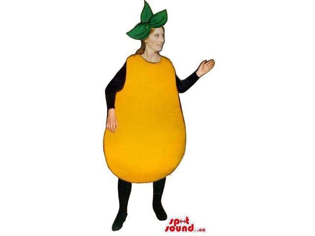 Yellow Pear Fruit Adult Size Costume Including A Leaves Hat