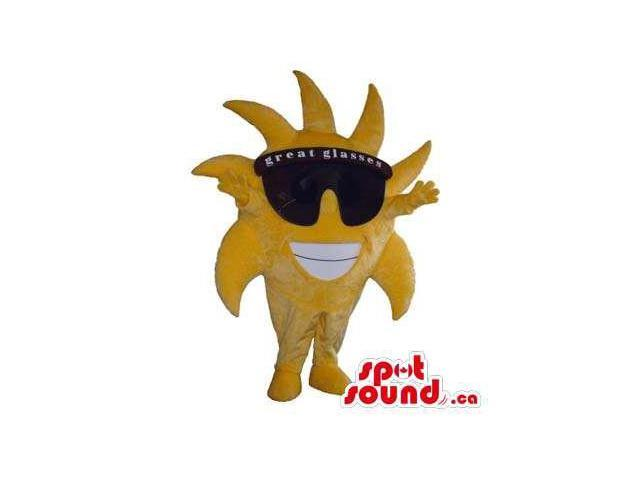 Cool Large Sun Plush Canadian SpotSound Mascot Dressed In Sunglasses With Text