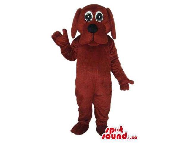 Cartoon Cute Dark Brown Dog Plush Canadian SpotSound Mascot With Round Eyes