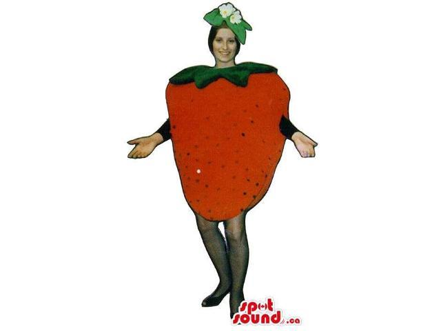 Red Strawberry Fruit Adult Size Costume Including A Flower Hat