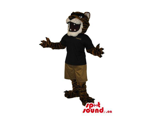 Tiger Plush Canadian SpotSound Mascot Dressed In A Black Shirt And Brown Shorts