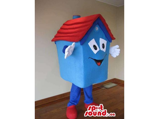 Large Blue Sweet Home Object Canadian SpotSound Mascot With Red Rooftop