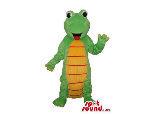 Cute Cartoon Green Alligator Plush Canadian SpotSound Mascot With A Yellow Belly