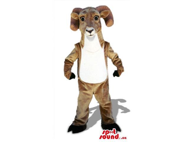 Customised Brown Goat Plush Canadian SpotSound Mascot With White Belly