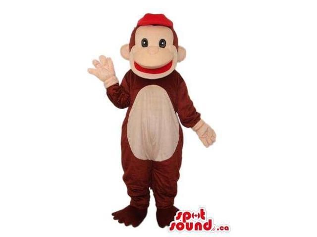 Brown Monkey Animal Plush Canadian SpotSound Mascot Dressed In A Red Cap