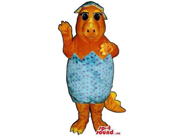 Orange Toddler Alligator Plush Canadian SpotSound Mascot With Inside A Hatched Egg