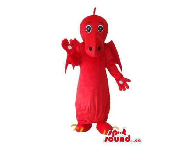 Fairy-Tale Cute Red Dragon Plush Canadian SpotSound Mascot With Red Wings