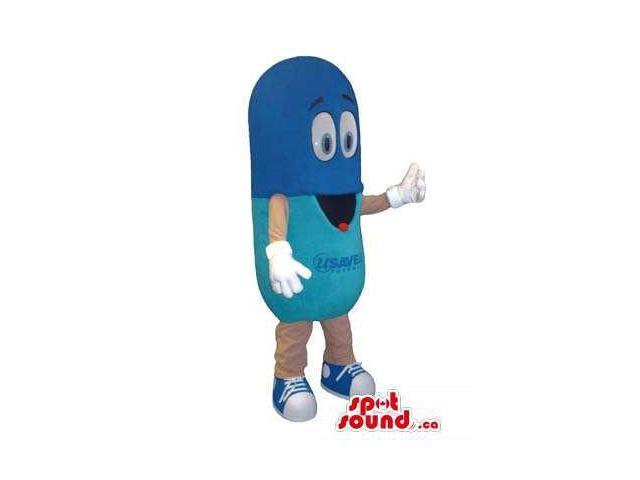 Customised Peculiar Blue Medicine Pill Tablet Canadian SpotSound Mascot