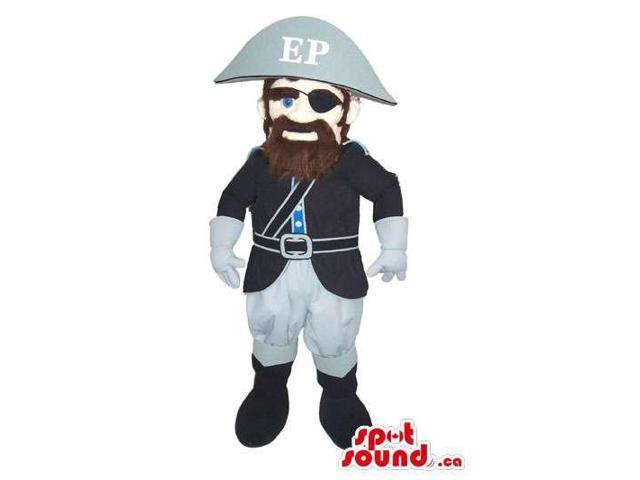Pirate Human Character Canadian SpotSound Mascot With Beard And Eye-Patch