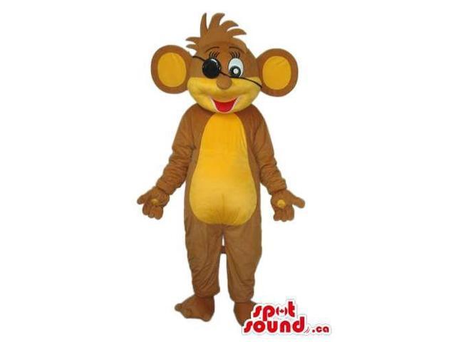 Brown And Yellow Mouse Plush Canadian SpotSound Mascot With An Eye Patch
