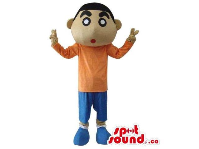Shin Chan Japanese Cartoon Canadian SpotSound Mascot Dressed In An Orange Shirt