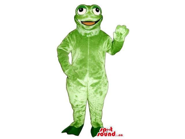 Light Green Frog Plush Canadian SpotSound Mascot With Peculiar Round Eyes