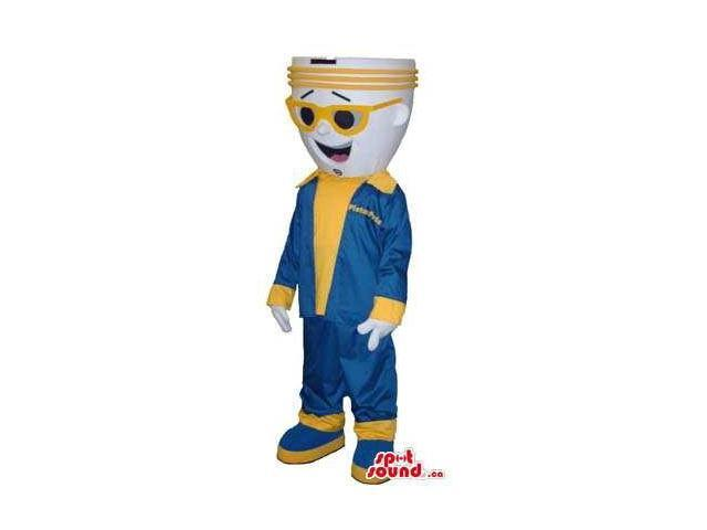 Bulb Canadian SpotSound Mascot Dressed In Yellow And Blue Gear And Sunglasses