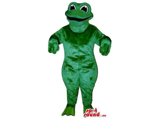 Customised Green Frog Plush Canadian SpotSound Mascot With An Open Mouth