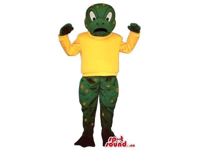 Green Frog Canadian SpotSound Mascot With Yellow Spots Dressed In A Yellow T-Shirt